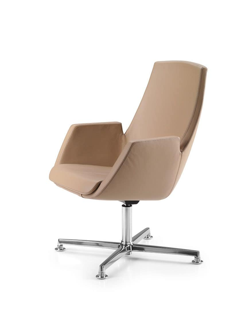 NUBIA 2914, Chair completely padded with 4 spokes chromed base
