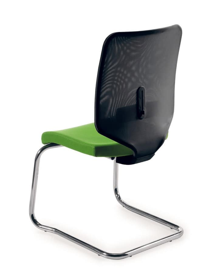 UF 458 S, Sled base chair with net backrest, made in Italy