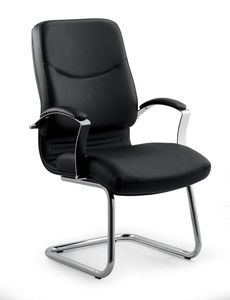 UF 531 S, Metal visitor chair, upholstered in leather