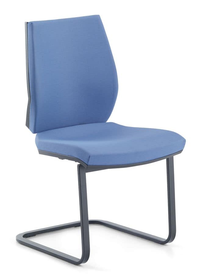 Venus 03, Visitor chair with base in tubular steel, for office