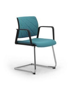 Wiki Tech relax, Cantilever chair with armrests, with rhombus backrest