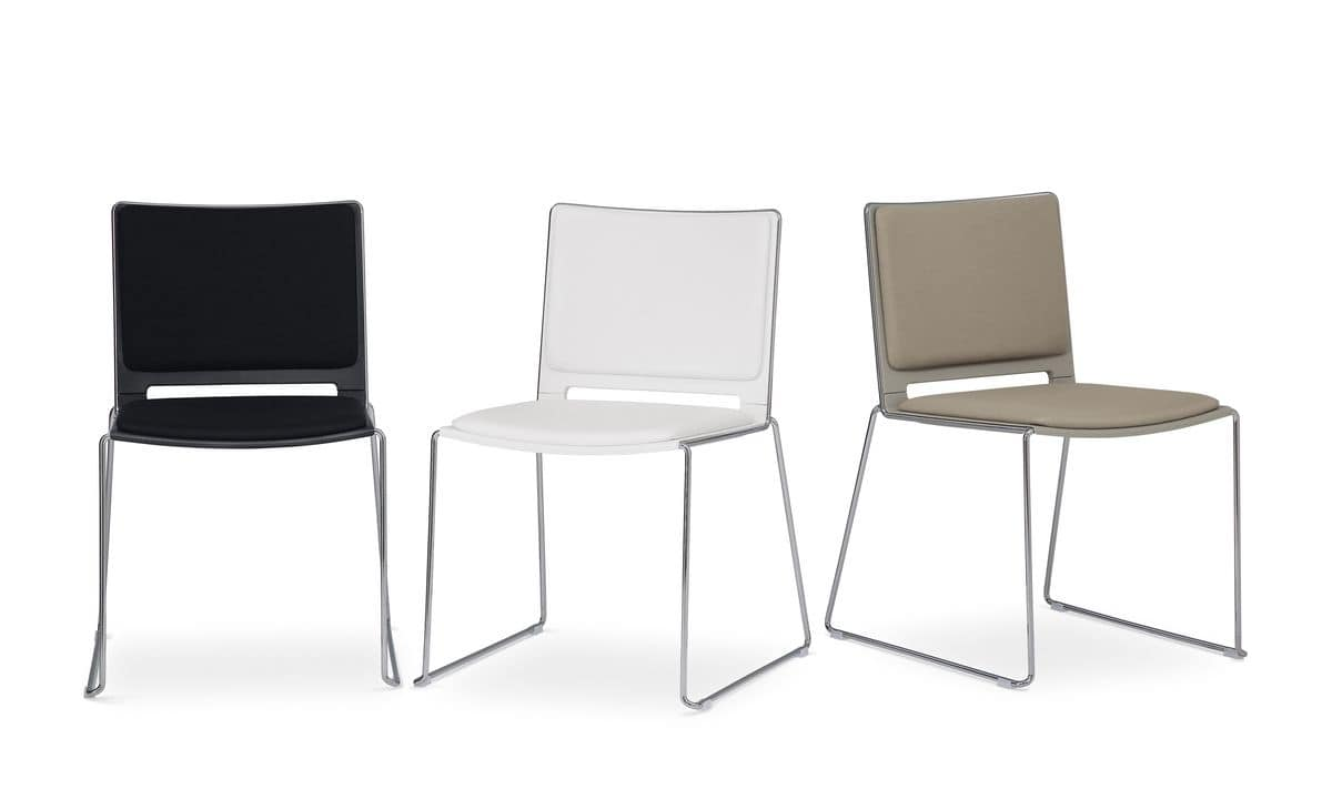 Easy Soft 01, Padded stackable chair, in metal and plastic