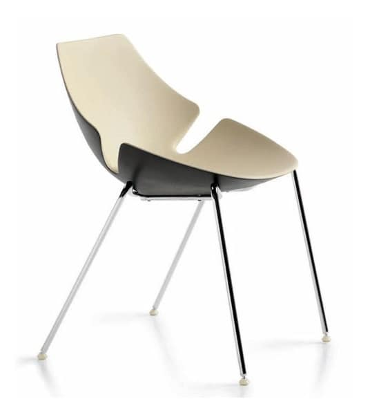 Eon 4 legs, Chair with shell in plastic material, for kitchens