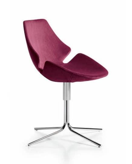 Eon swivel tubular, Chair with plastic shell, for medical studios
