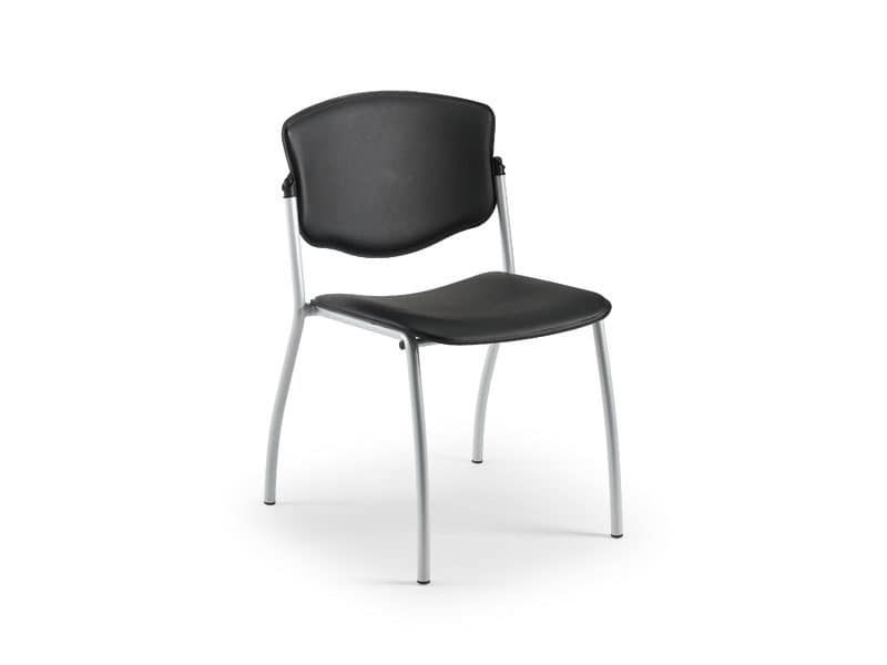 Valeria 65341, Metal chair covered in leather, for waiting rooms