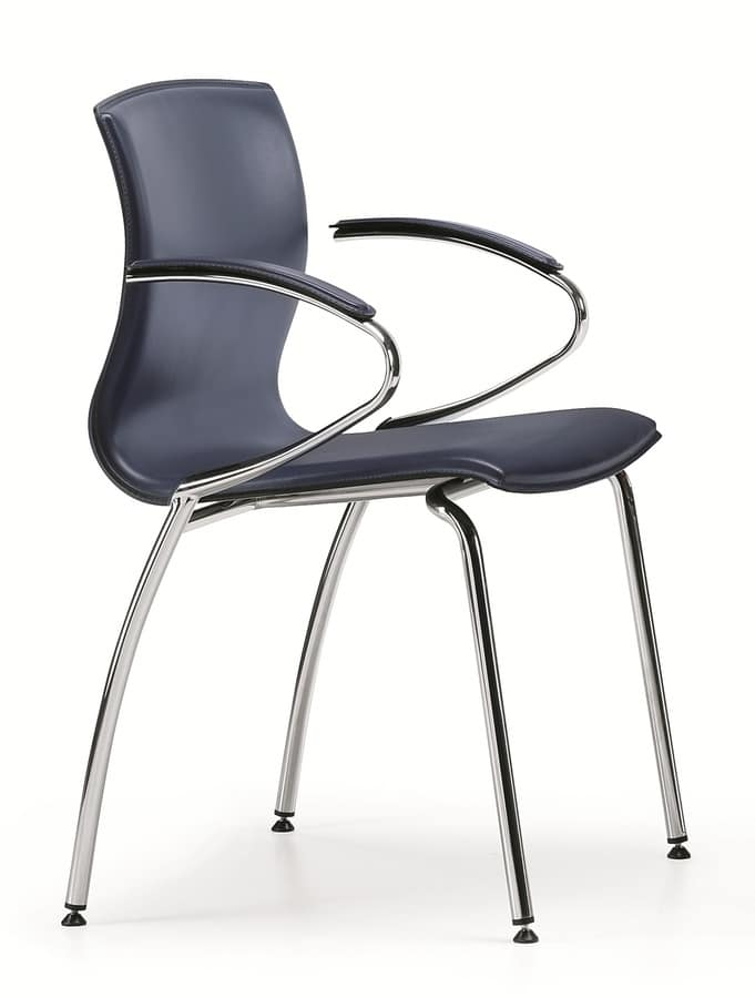 WEBTOP 389, Chair in metal and beech wood shell covered in leather