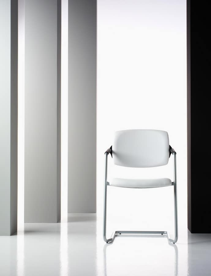 Ariel, Visitor chair, upholstered, in aluminum, for office