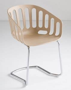 Basket Chair CTL, Visitor chair, metal base, technopolymer shell