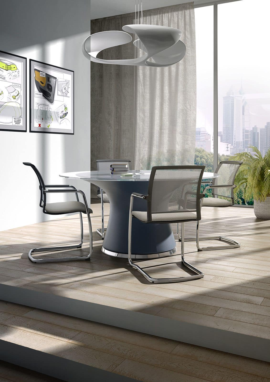 Cometa relax, Sled chair for office, with backrest in mesh