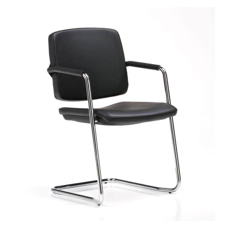Guest, Visitor chair, stackable, with covered armrests