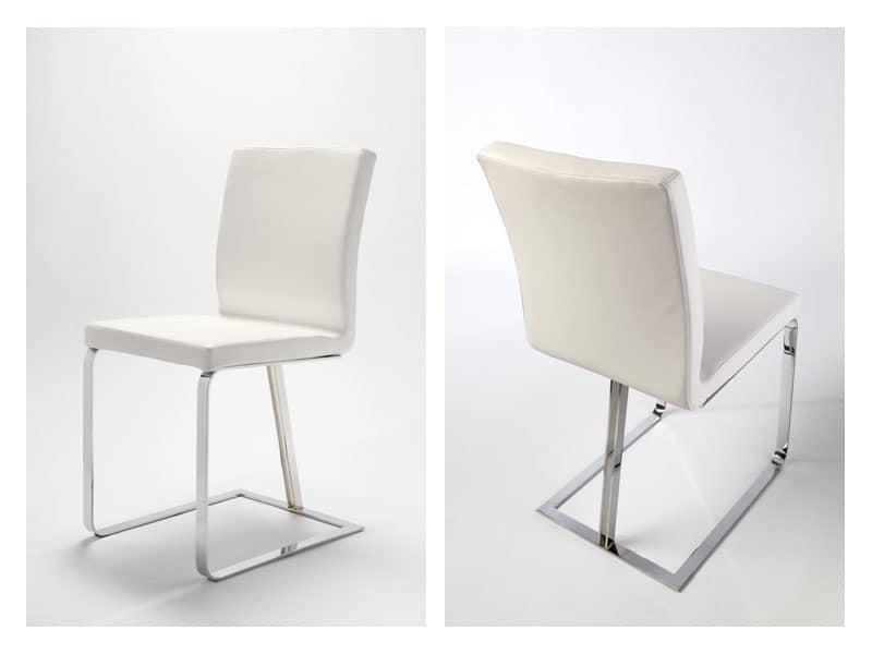 Linea, Modern chair, original sled base, for residential use