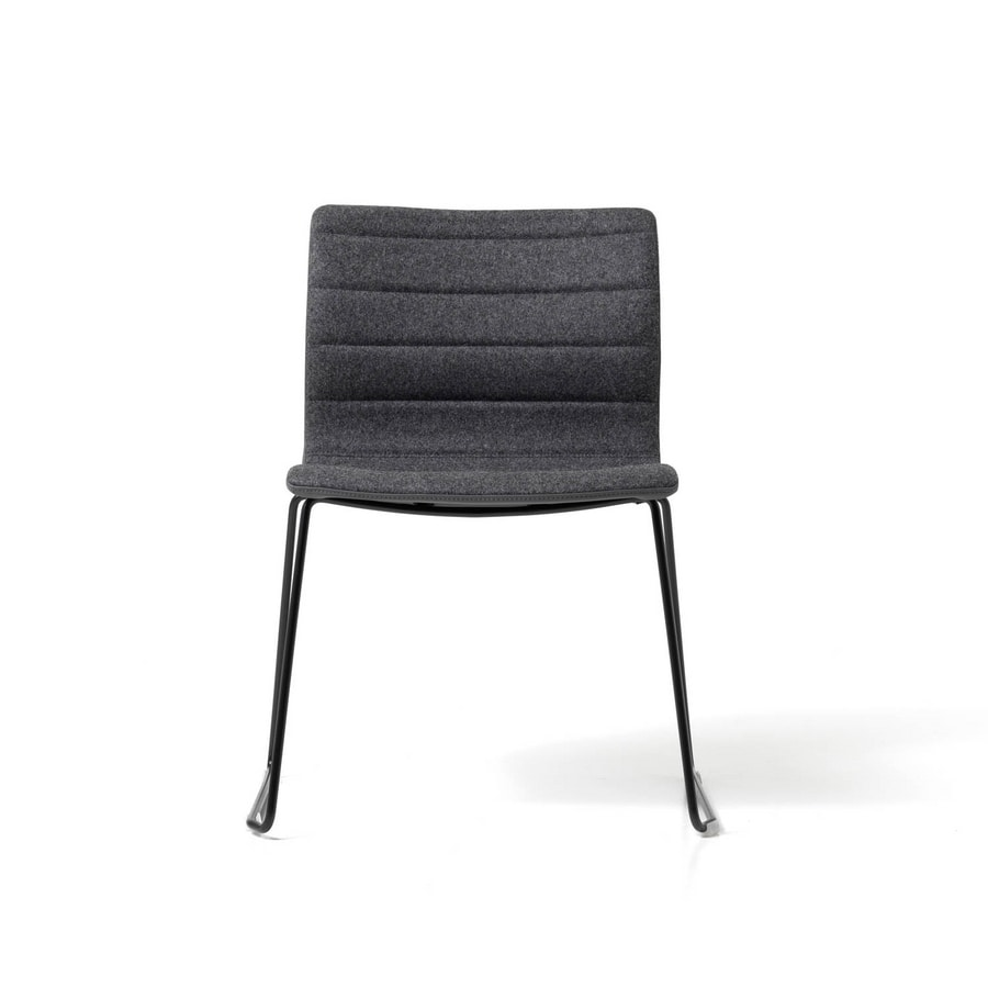 Miss sled, Chair with steel sled, for office, upholstered