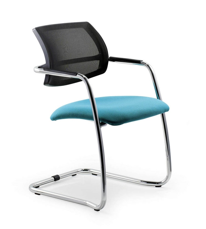 UF 133 / S, Sled base chair with net backrest, for elegant offices