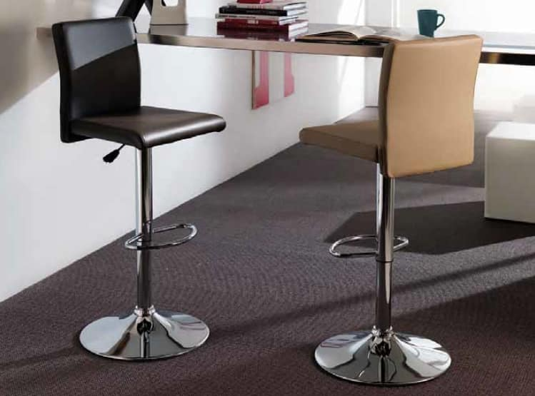 Alfonso, Eco-leather stool, adjustable in height