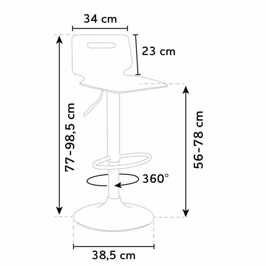 Bar stool and chrome steel kitchen SAN JOSE Modern Design - SGA800SNJ, Stool with transparent plastic shell