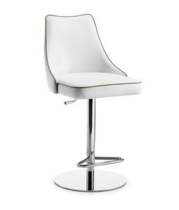 Evelin SG chromed base, Leather stool, adjustable in height