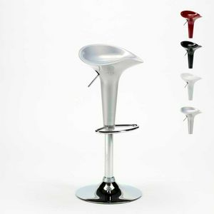 High bar stool and swivel and adjustable polypropylene kitchen BOSTON - SGA800BOS, Swivel stool with chromed footrest