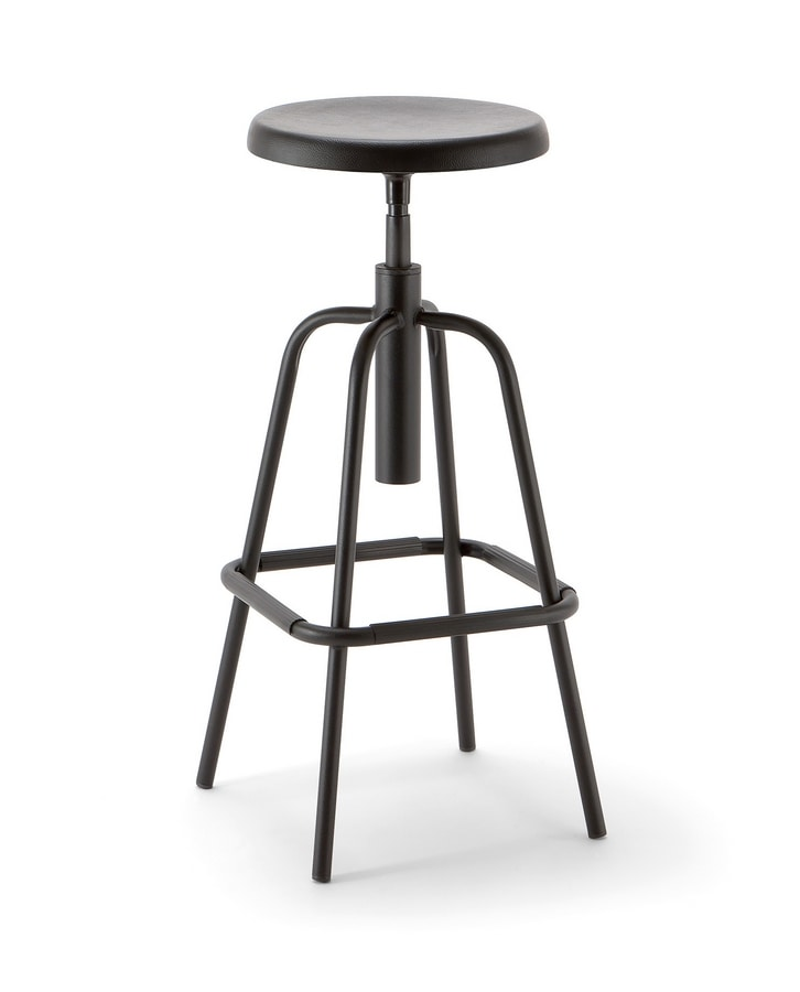 Mea 05, Stool with round height-adjustable seat
