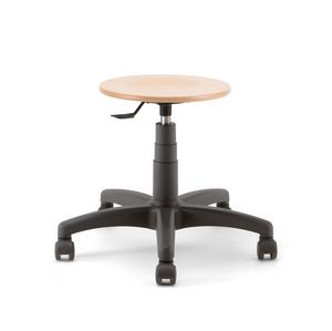 Mea Wood 01, Stool on castors, with round wooden seat