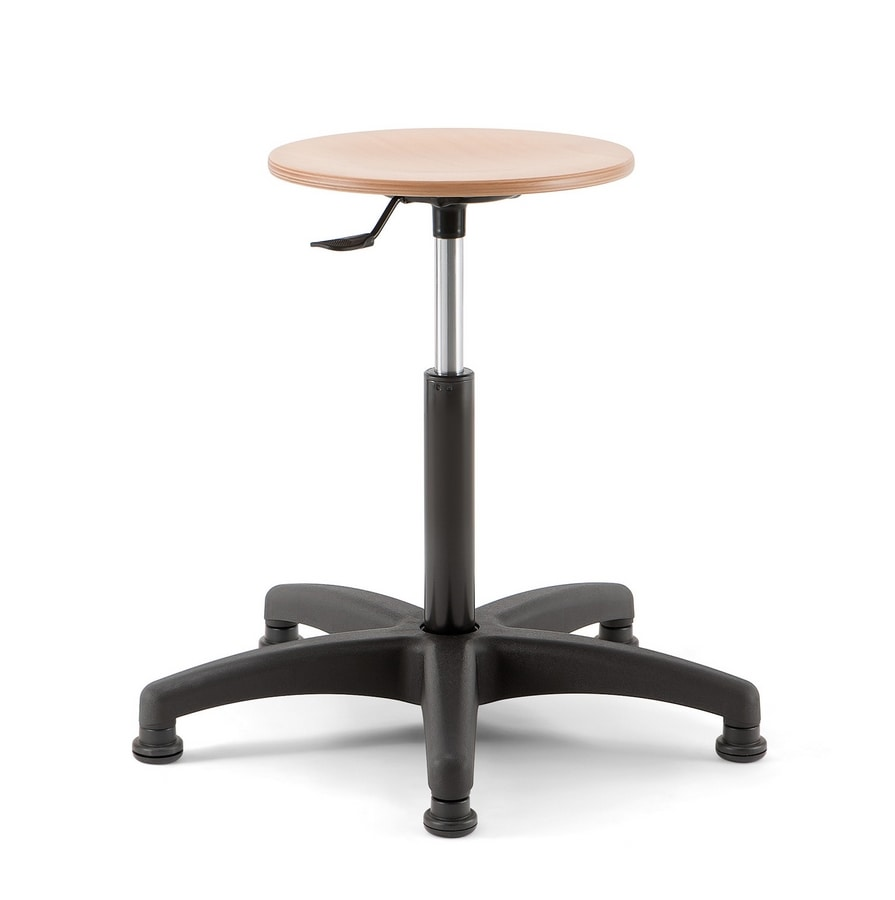 Mea Wood 02, Adjustable height stool with round wooden seat