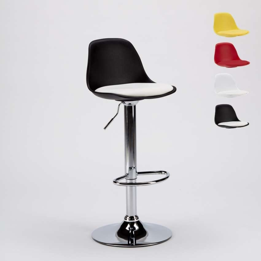 Stool for Bar and Kitchen with Leatherette Peninsula Design NEW ORLEANS - SGA800NEW, Swivel stool with backrest
