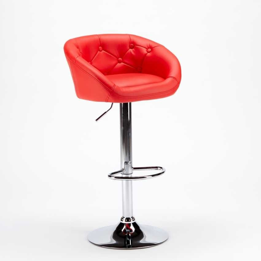 Stool in imitation leather for bar and chesterfield kitchen TUCSON Design - SGA800TUC, Stool in leatherette with adjustable height