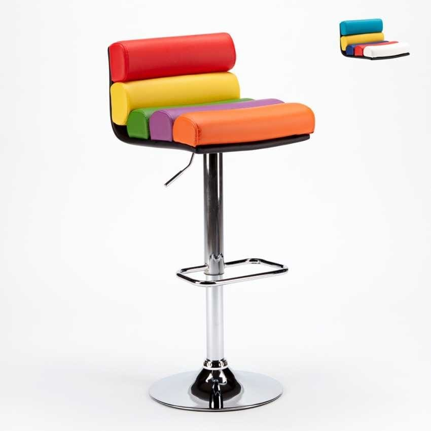 Stool Sale Games Pubs and Breweries Colored Leatherette Design LONG BEACH - SGA800LNG, Stool in imitation leather for gaming rooms