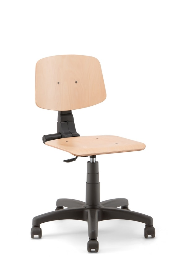 Woody 01, Stool on castors, wooden seat