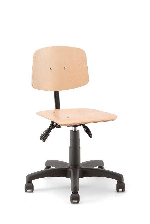 Woody 01, Stool on castors, wooden seat