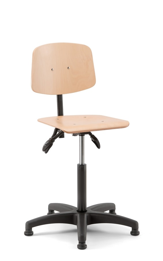 Woody 02, Stool with wooden seat