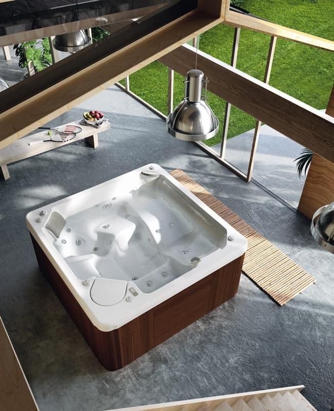 Mini swimming pool with Jacuzzi and waterfall, color therapy | IDFdesign