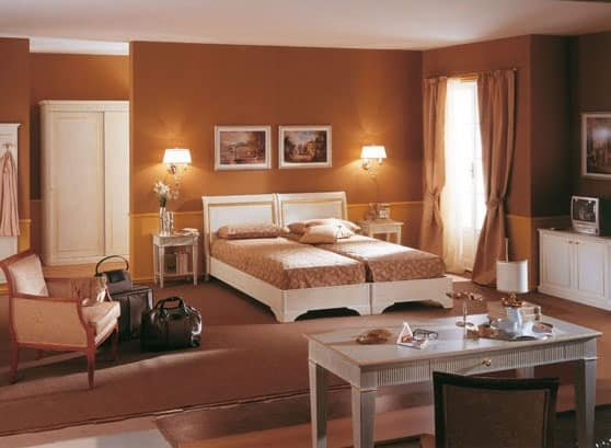 Collezione Este, Hotel room furniture, brushed white finish, gold leaf decorations