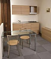 Collezione Host, Tailor-made furniture with bedroom and kitchen block, bleached oak wood finish