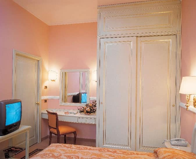 Hotel Residence Romana, Furniture for hotel room, bed, wardrobe, desk with mirror, TV stand