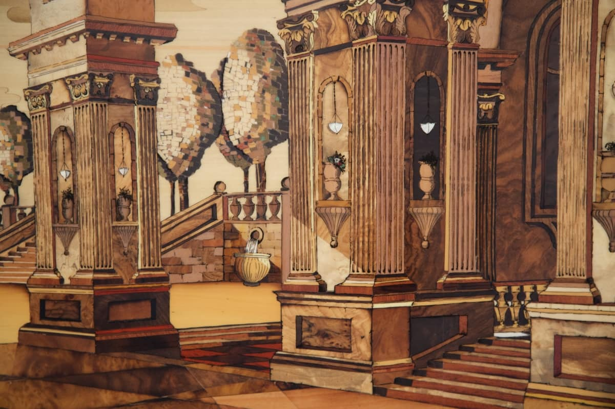 Marquetry with architectural view in perpsective, Inlay cleverly created by matching noble wood essences