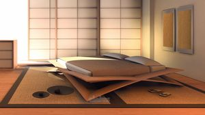 Loto, Japanese cherry wood bed