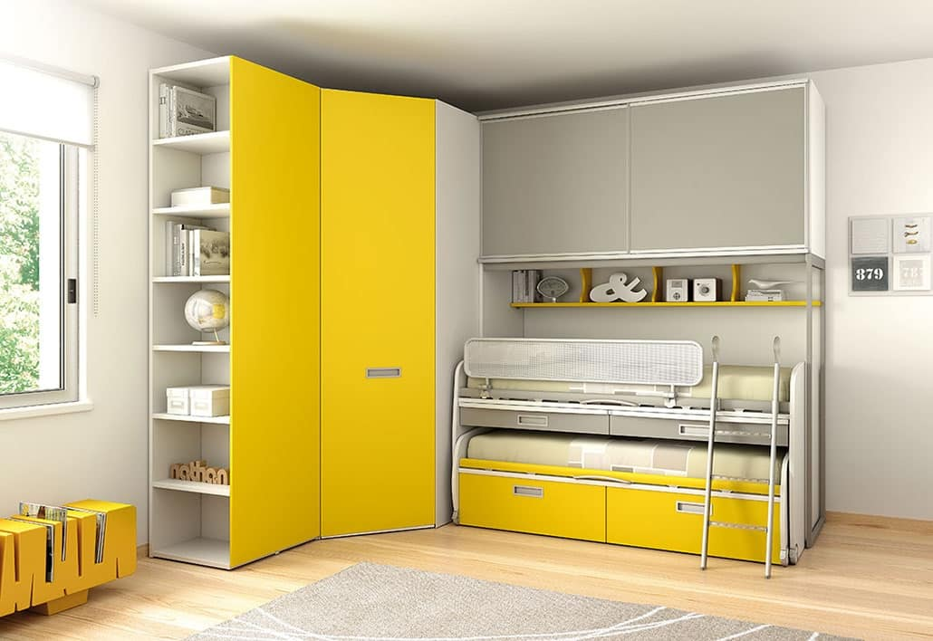 Spar Camerette A Ponte.Bedroom With 2 Beds With Ladder And Corner Wardrobe Idfdesign