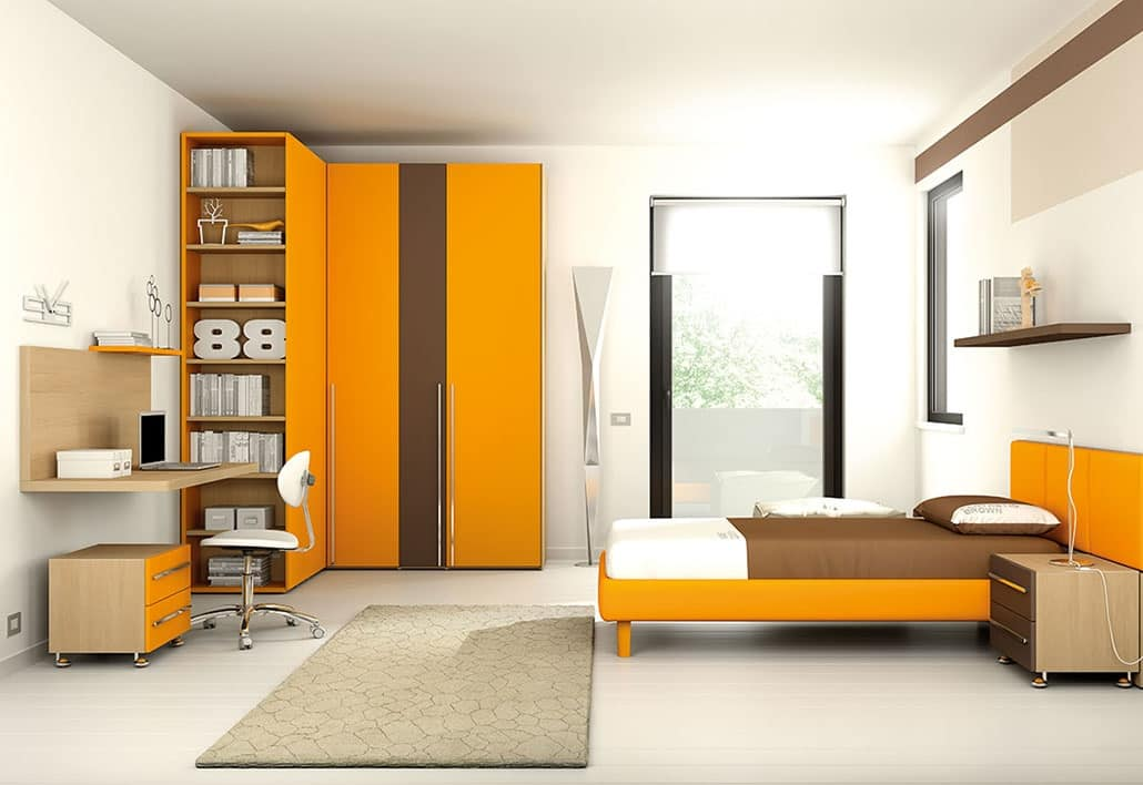 Camerette Armadio Ad Angolo.Children Bedroom With Corner Wardrobe With Shelves Idfdesign