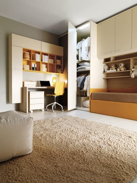 Comp. 206, Children's bedroom, bed, wardrobe, desk