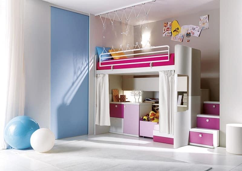 Comp. 306, Bedroom, wooden slats, different colors