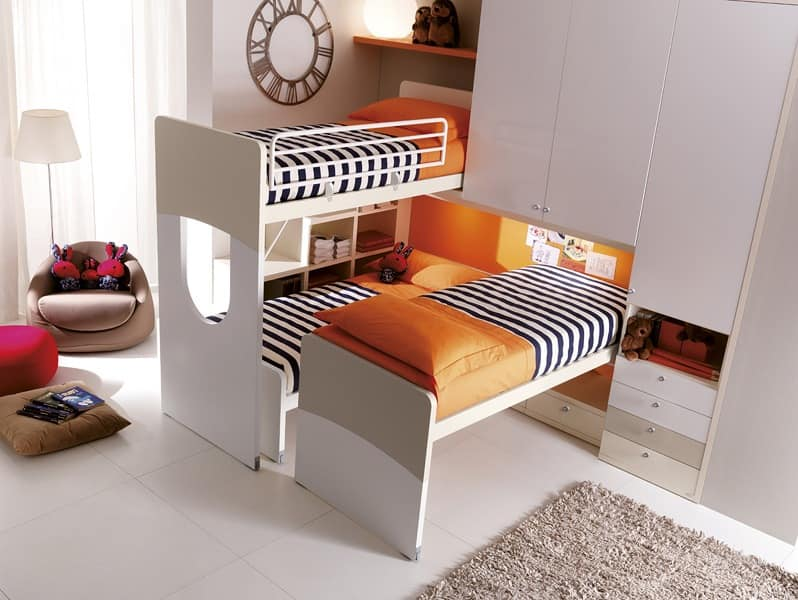 Comp. 404, Furniture for children's room, bed with shaped headboard