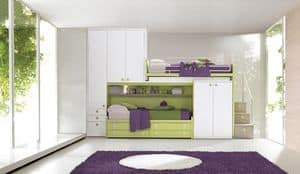 Comp. 968, Modular room for children, bunk bed with wardrobes