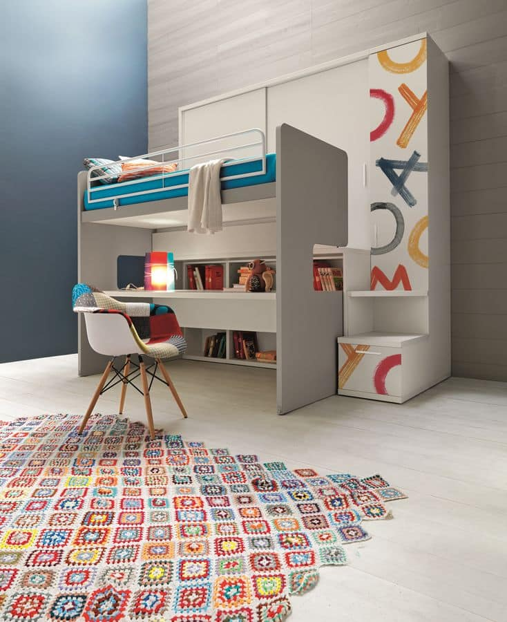 Wardrobe With Integrated Bunk Bed With Desk Decorated In Digital