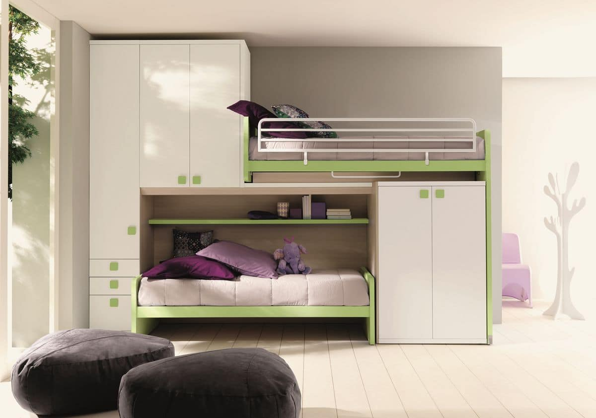 Comp. New 158, Space-saving bedroom, with linear loft, with two beds and double wardrobe