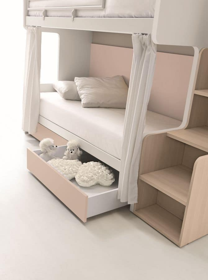 Comp. New 160, Bunk beds ideal for small bedrooms, with space-saving drawers