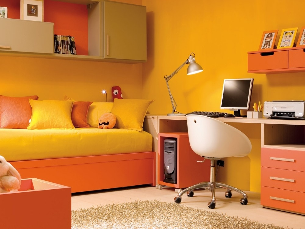 Kid Bedroom With Bed Desk And Wall Units Idfdesign