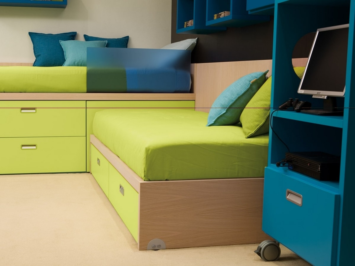 Compact 7006, Kid bedroom with corner beds, equipped with drawers