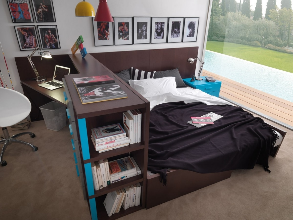 Compact 9006, Space-saving bedroom, with desk that can be transformed into a bed