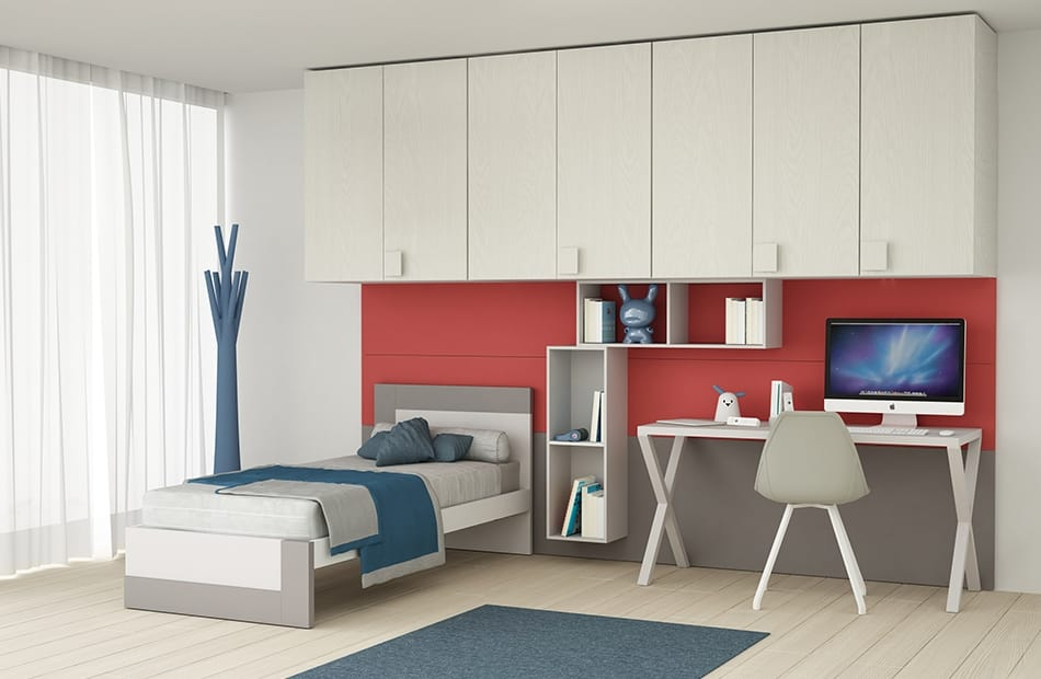 Spar Camerette A Ponte.Kid Bedroom With Large Overhead Bridging Wardrobe Idfdesign