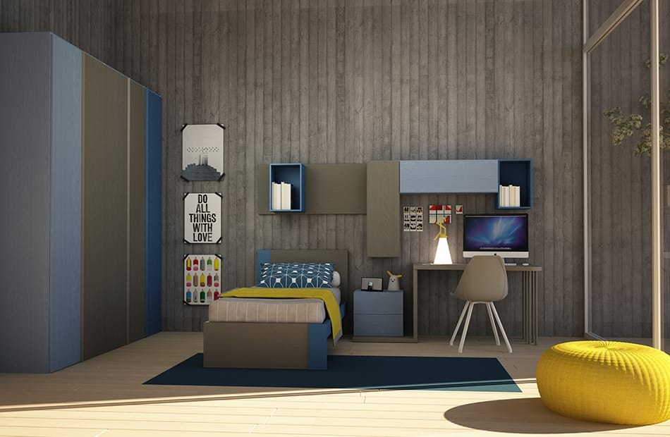 Cool comp.06, Modern kid bedroom, with single bed